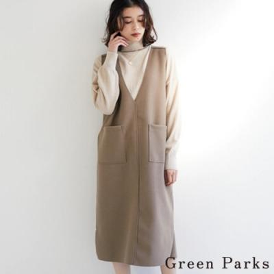 Green Parks V領雙口袋背心洋裝