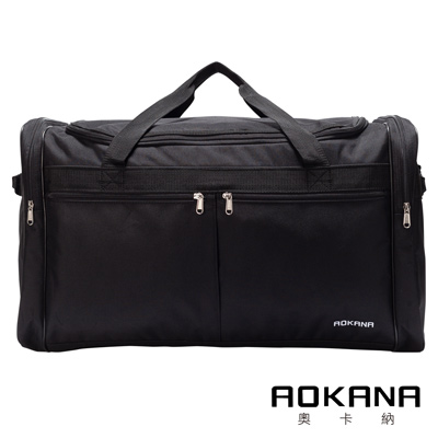 AOKANA奧卡納 YKK拉鍊 輕量防潑水尼龍休閒旅行袋 行李袋(黑)436