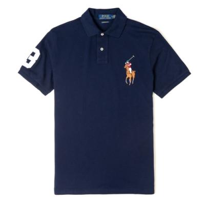 Polo Ralph Lauren 年度熱銷刺繡彩大馬短袖POLO衫(CUSTOM SLIM)-深藍