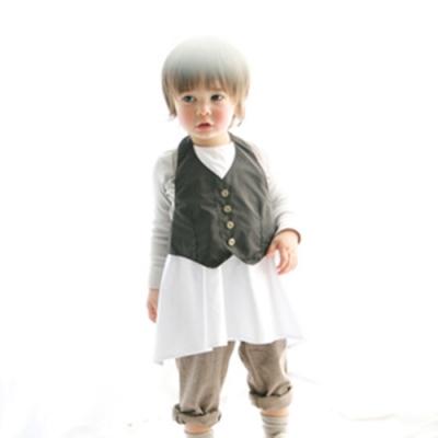 MARLMARL兒童用餐圍裙 男孩/深棕(Baby 80-90cm)