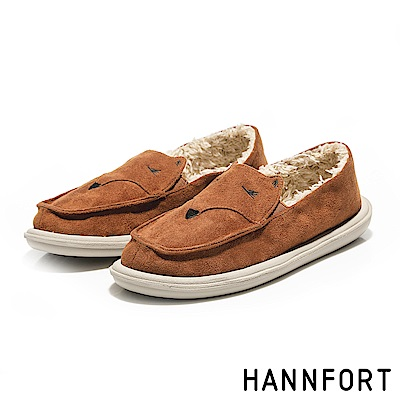 HANNFORT COZY微笑狐狸毛毛懶人鞋-女-駱駝棕