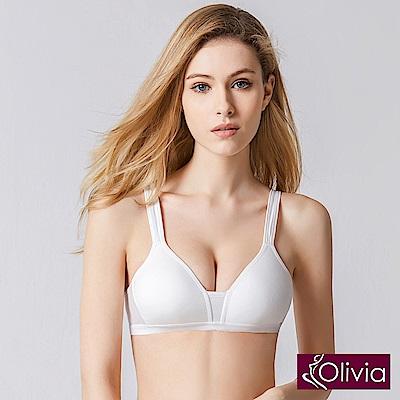 Olivia無鋼圈舒棉薄款輕運動內衣-白色