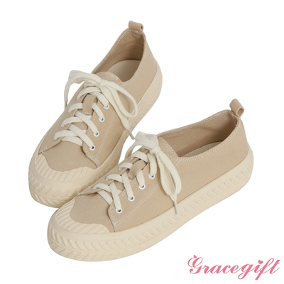 Grace gift-素面帆布休閒餅乾鞋 卡其