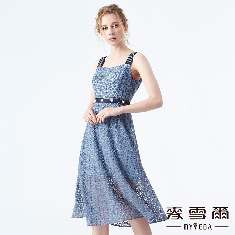 【麥雪爾】幾何立體蕾絲水鑽寬肩帶洋裝 @ Y!購物