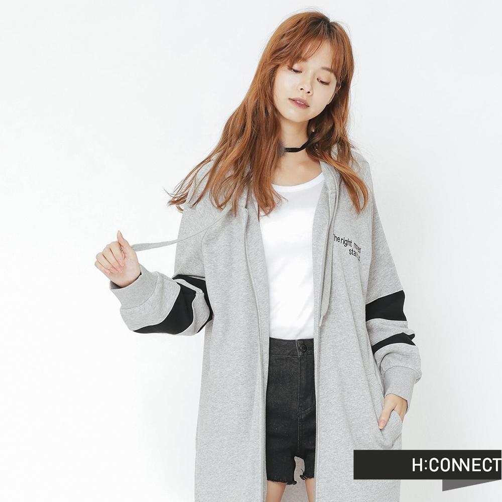 H:CONNECT 韓國品牌 女裝 - 休閒連帽長版外套-灰 (快)
