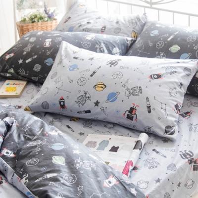 OLIVIA 星際冒險 淺灰 標準單人床包美式枕套兩件組 200織精梳純棉 台灣製