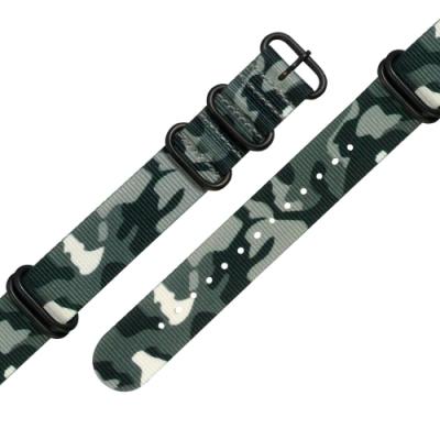 Watchband / 各品牌通用 迷彩 輕便柔軟 黑鋼扣頭 尼龍錶帶 灰綠色