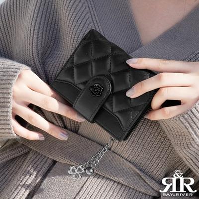 2R 綿霜羊皮 Kerry 菱格設計卡片短夾 經典黑