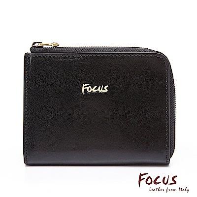 FOCUS原皮時尚黑L型短夾零錢包(FGA0089)