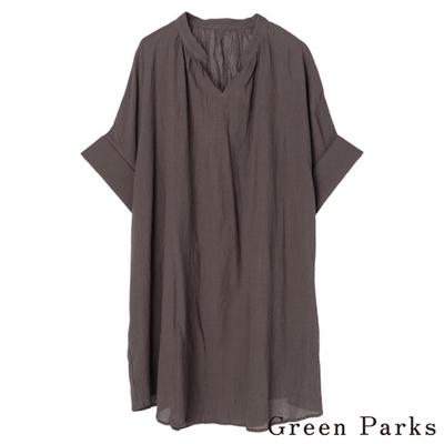 Green Parks  五分袖抽褶長版上衣