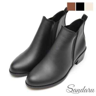 山打努SANDARU 短靴 經典側V字鬆緊尖頭切爾西靴-黑