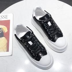 韓國KW美鞋館 韓流活力玩色厚底小白鞋 黑