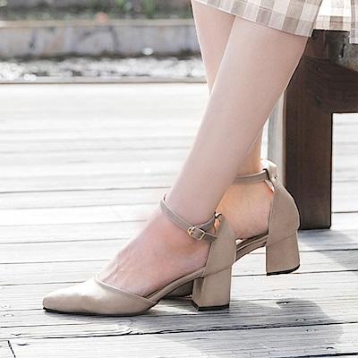 台灣製造~繫帶尖頭仿皮革素色跟鞋-OB大尺碼