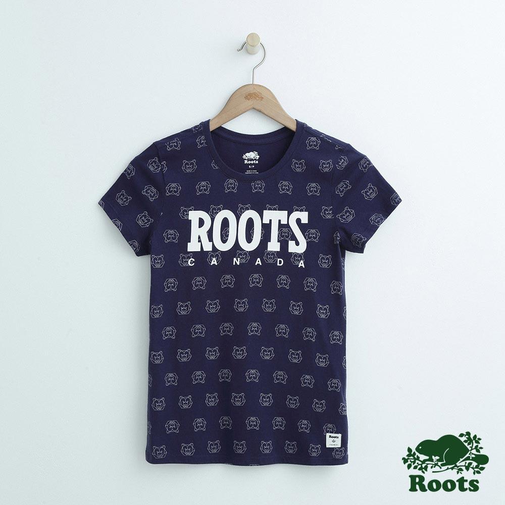 女裝Roots 動物滿版印花短袖T恤-藍