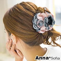 【滿額再7折】AnnaSofia 雙色綻瓣 純手工中型髮抓髮夾(藍灰粉系)