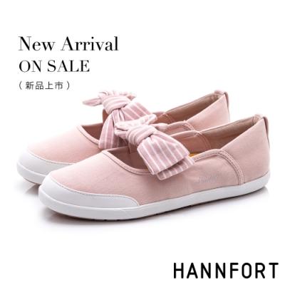 HANNFORT CALIFORNIA 海軍條紋蝴蝶結休閒鞋-女-粉