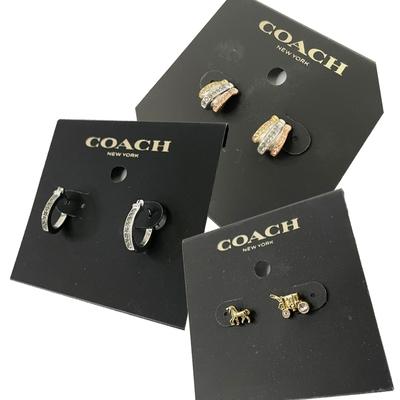 【時時樂限定】COACH 新款仿鑽耳針式耳環(多款供選)