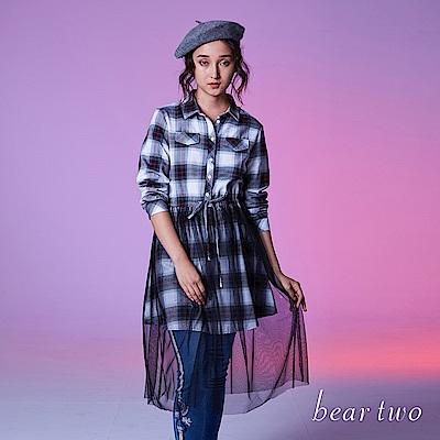 beartwo假兩件紗裙格紋長袖襯衫式洋裝2色