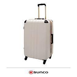 日本SUNCO  27吋 護角鋁框拉桿箱 米白色 大容量 靜音輪