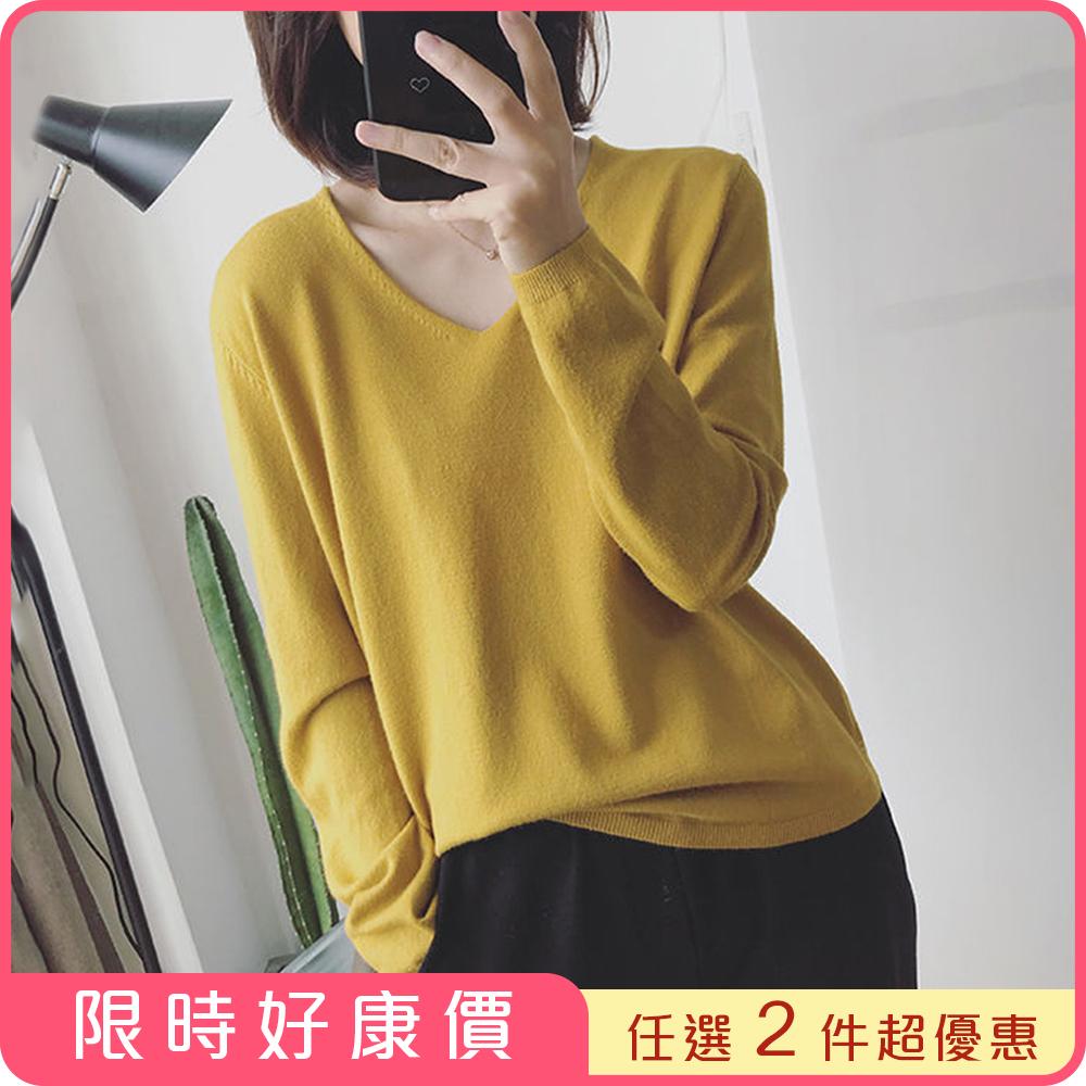 [超值2件組] ROCU 純色V領包心紗針織上衣-共6色-(任選2件)