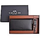 COACH 壓印LOGO全皮革長夾/鑰匙圈二件禮盒組-黑(附原廠禮盒)