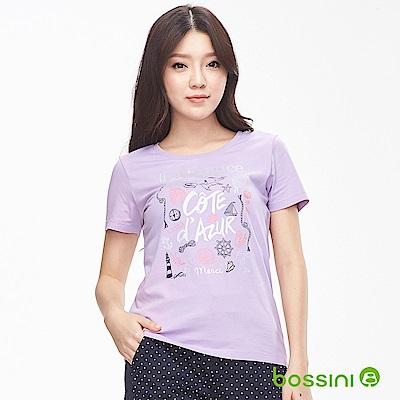 bossini女裝-印花短袖T恤02淺紫
