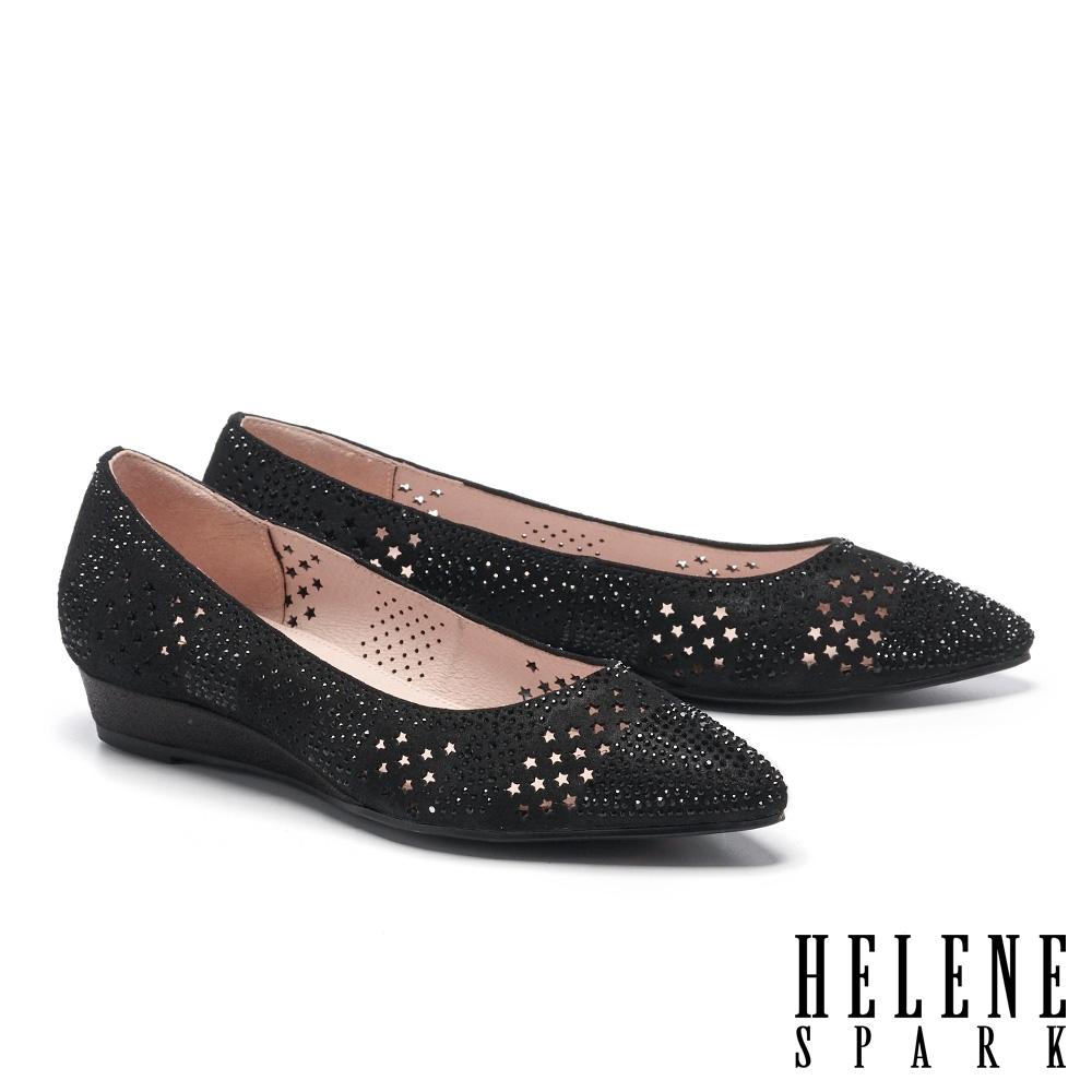 低跟鞋 HELENE SPARK 星星沖孔排鑽全真皮楔型低跟鞋-黑