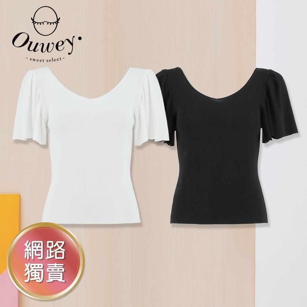 OUWEY歐薇 女神抽摺荷葉袖素面彈性針織(白/黑)3212465028