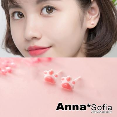 AnnaSofia Q粉貓爪肉墊 925純銀針耳針耳環(銀系)