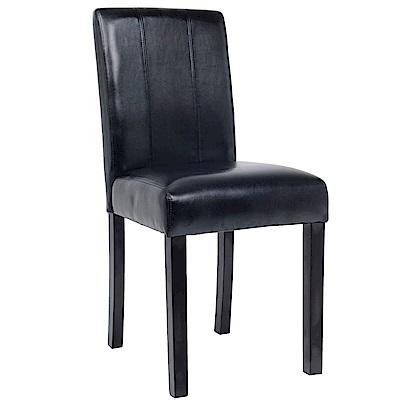 【AT HOME】現代簡約黑皮面實木腳餐椅/休閒椅(42*54*91cm)羅拉