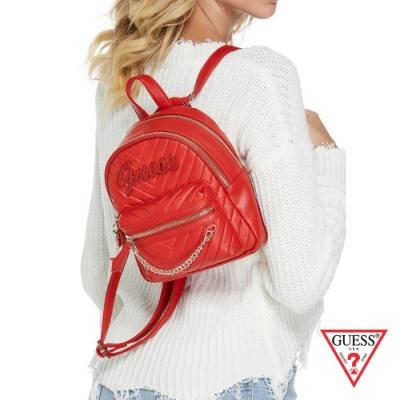 GUESS-女包-斜壓紋LOGO肩背後背包-紅