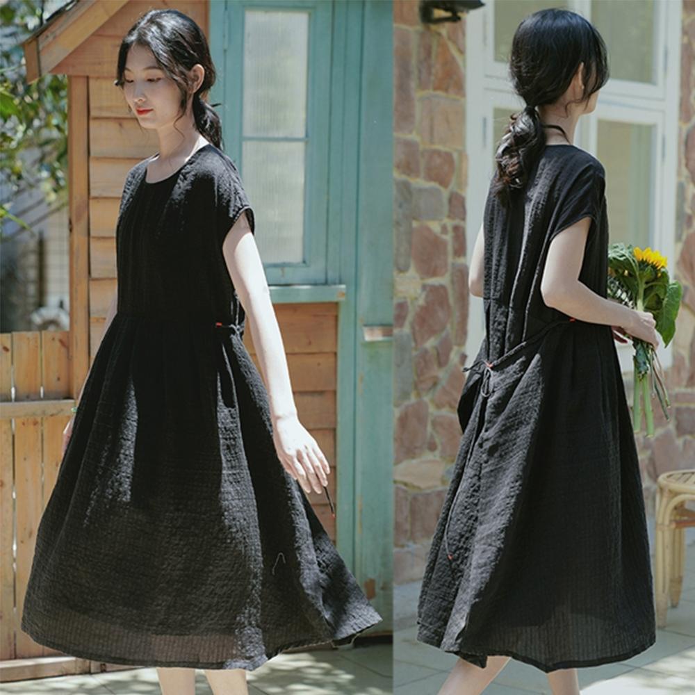 高端極細砂洗肌理絲麻小黑裙薄棉麻洋裝-設計所在
