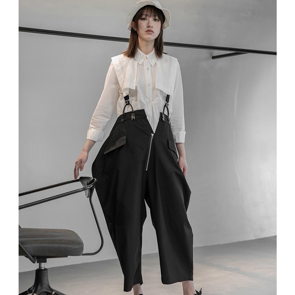 設計所在Style-新暗黑山本YS三宅風個性寬鬆九分背帶褲