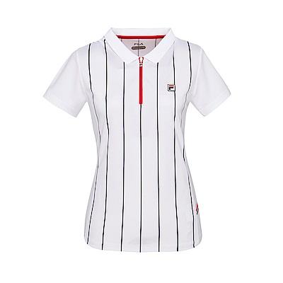 FILA女款抗UV吸濕排汗POLO衫-白 5POS-5007-WT