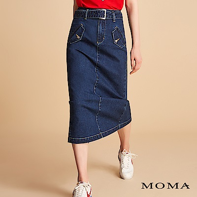 MOMA 腰帶牛仔窄裙