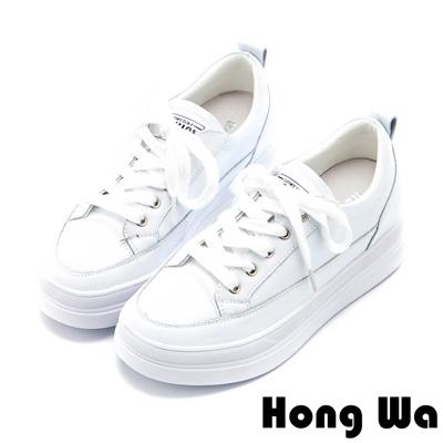 Hong Wa 素面牛皮綁帶厚底小白鞋 - 白