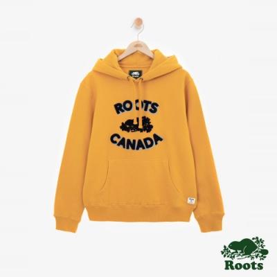 ROOTS男裝 - 雪尼爾LOGO刷毛連帽上衣-黃