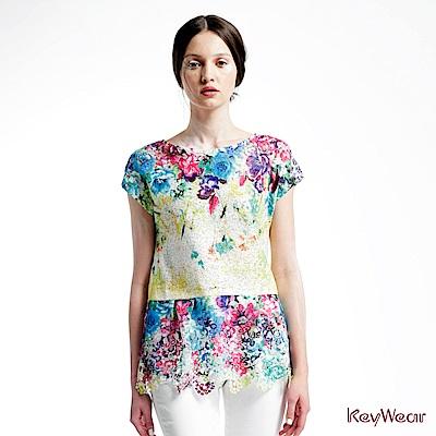 KeyWear奇威名品    數位印花收腰垂袖上衣-綜合色