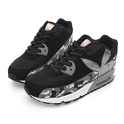 PLAYBOY 酷炫迷彩拼接氣墊運動鞋-黑-Y5230CC
