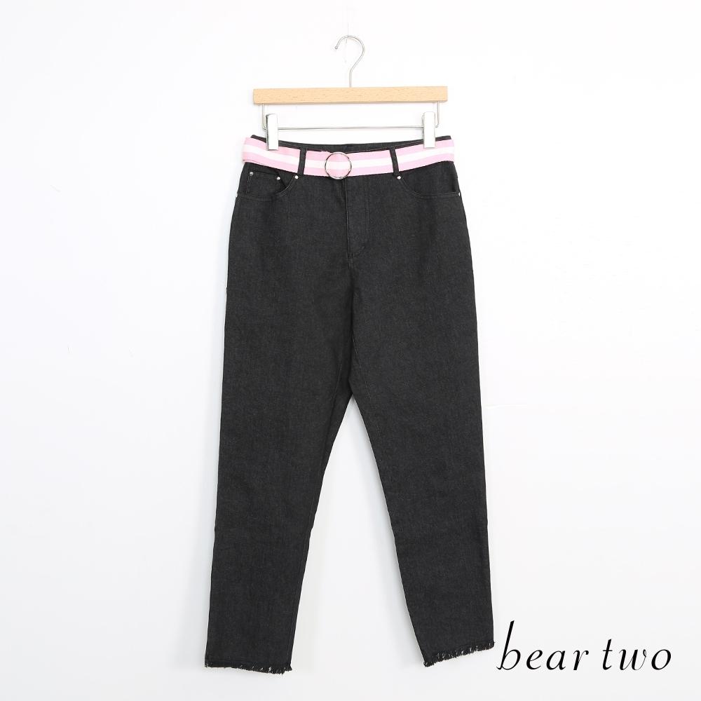 beartwo-附腰帶休閒褲-黑