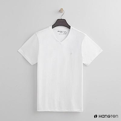 Hang Ten - 男裝 - 有機棉小V領純色T恤 - 白