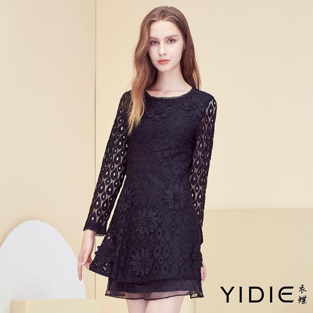【YIDIE衣蝶】蕾絲水滴簍空短洋裝-黑