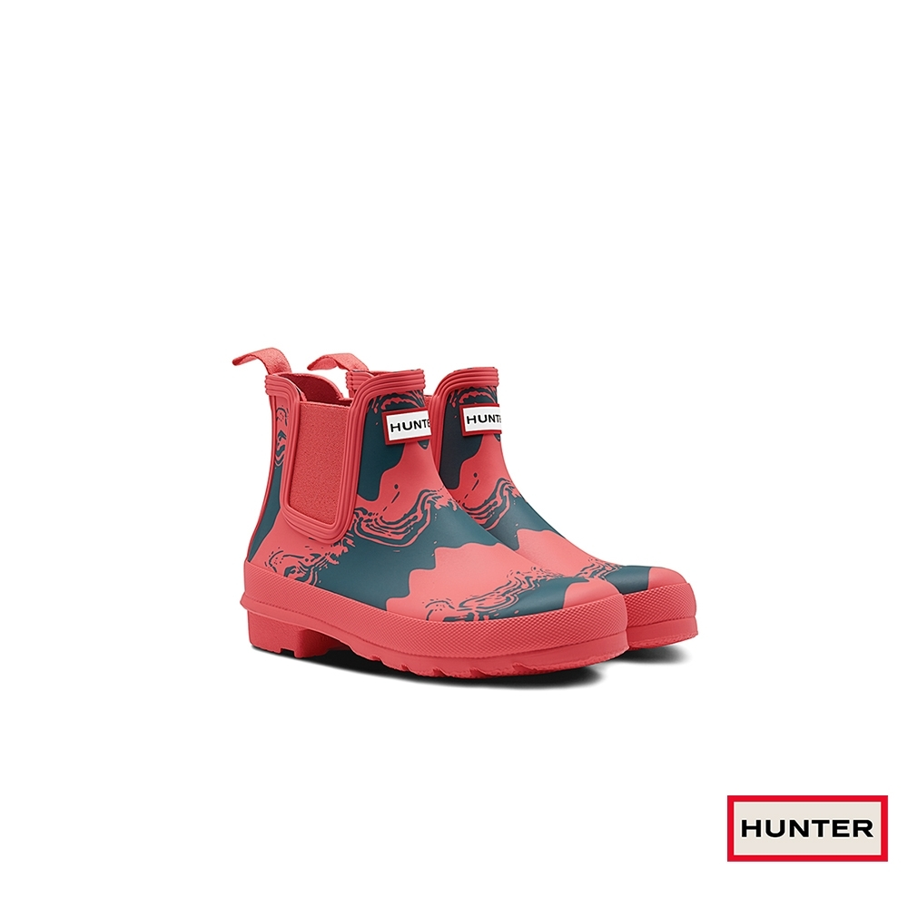 HUNTER - 女鞋-切爾西印花霧面踝靴 - 紅