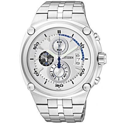 CITIZEN 速霸快車手三環計時腕錶-銀-43mm