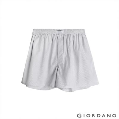 GIORDANO 男裝平織寬鬆四角褲 - 01 灰/白格紋