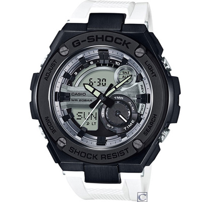 G-SHOCK  絕對強悍雙顯運動錶(GST-210B-7A)白/52.4mm