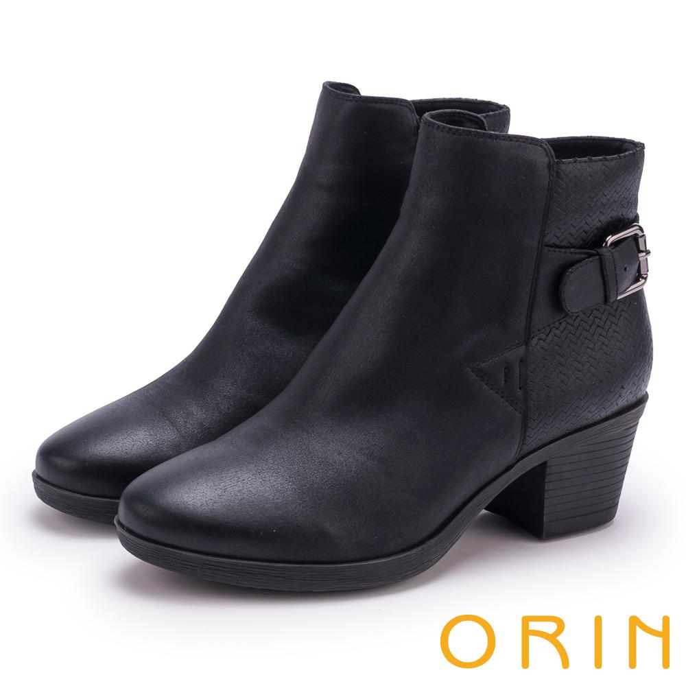 ORIN 流行個性元素 質感鋸齒波紋粗跟短靴-黑色