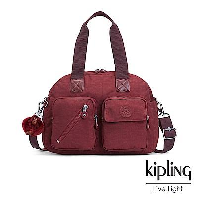 Kipling經典款高雅酒紅多層實用手提側背包-DEFEA UP