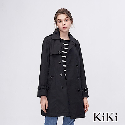 KiKi INLook 都會風個性女子風衣外套(黑色)