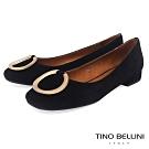 Tino Bellini 優雅環飾麂皮小方頭微跟娃娃鞋 _ 黑